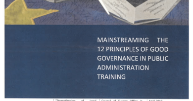 Mainstreaming the 12 principles of Good Governance in Public Administration training
