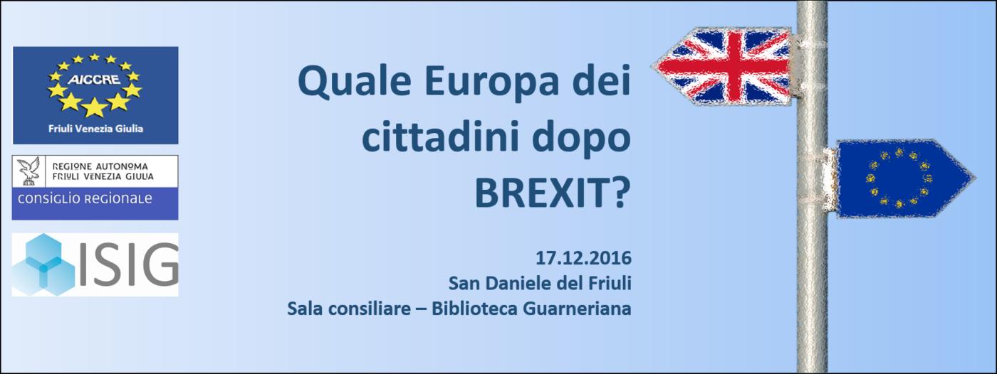 Evento – QUALE EUROPA DEI CITTADINI DOPO BREXIT?